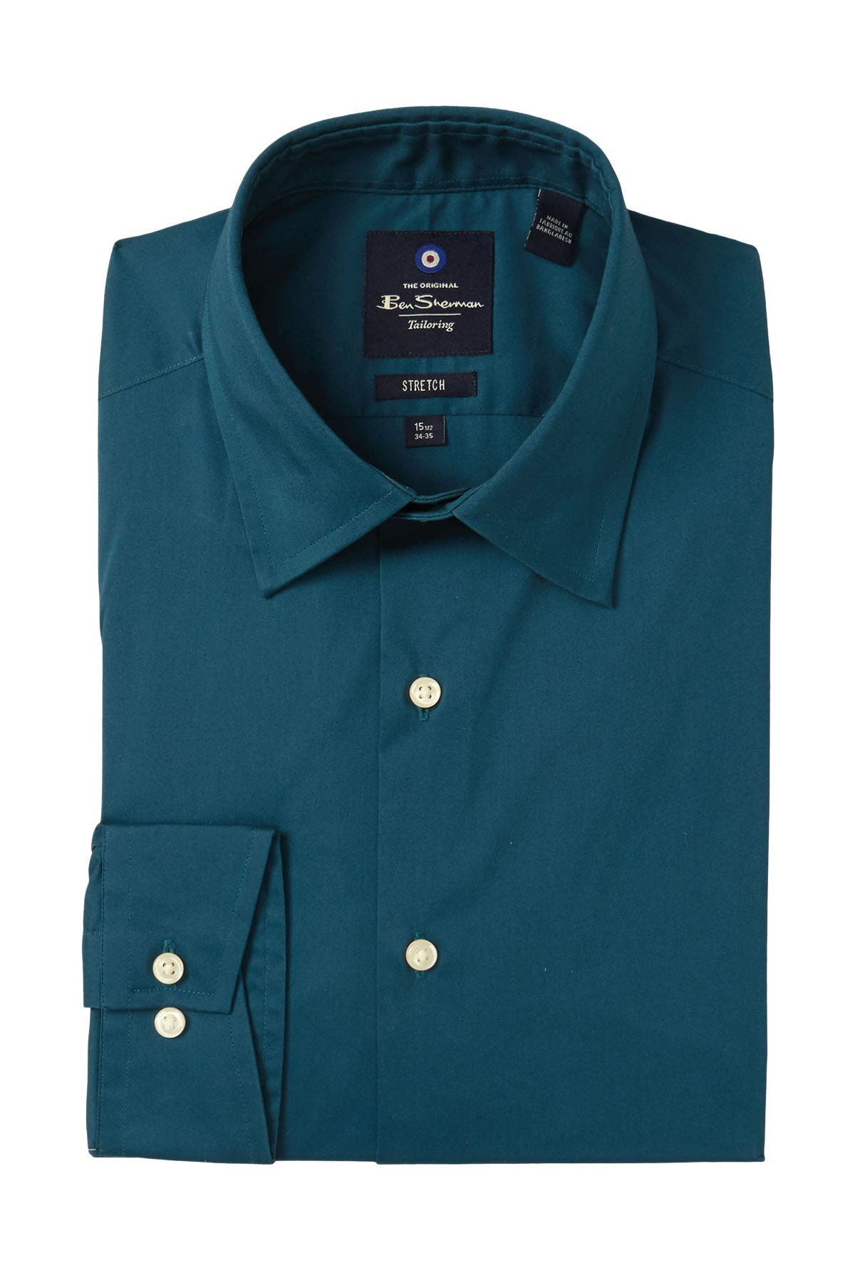 Image of Ben Sherman Solid Tailored Stretch Fit Dress Shirt