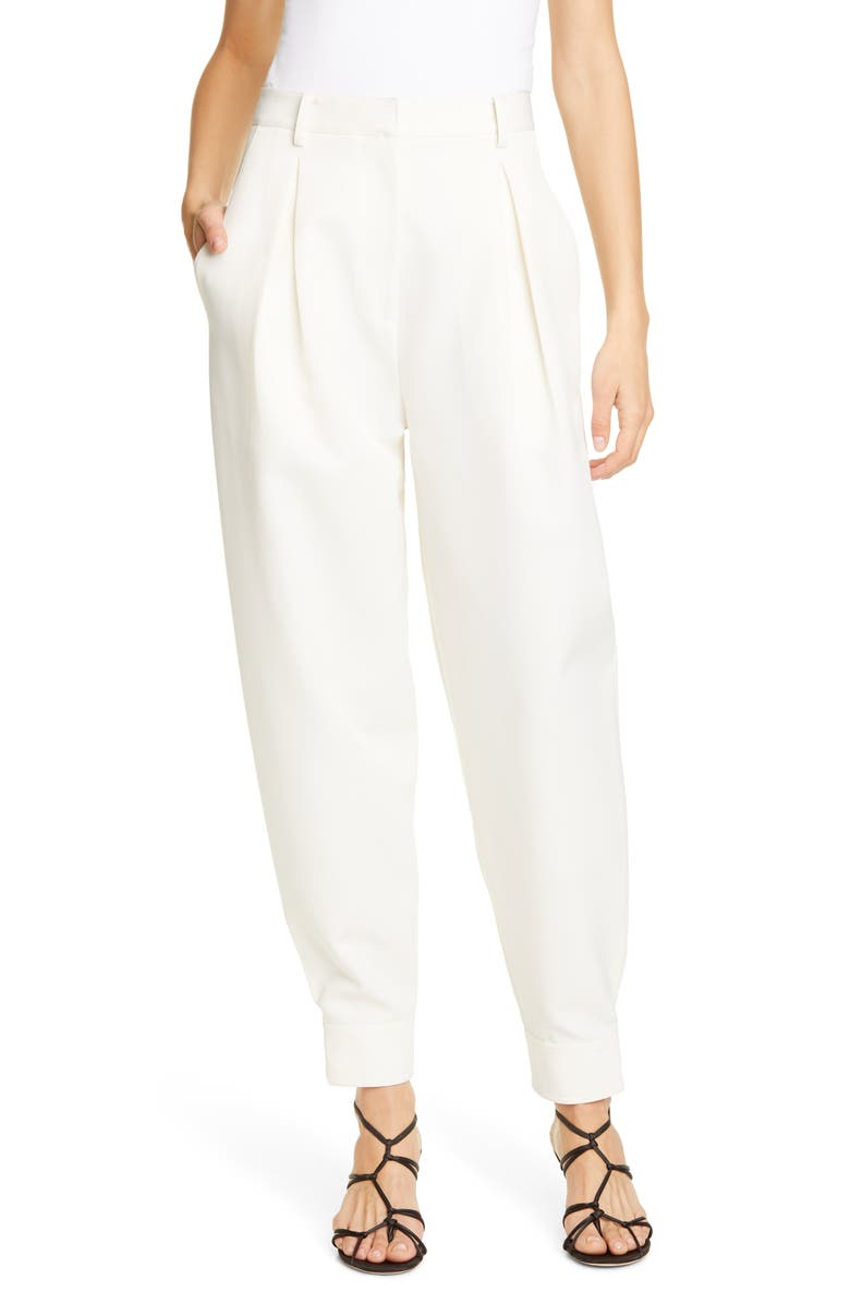 TIBI Pleat Front Techy Twill Pants, Main, color, IVORY