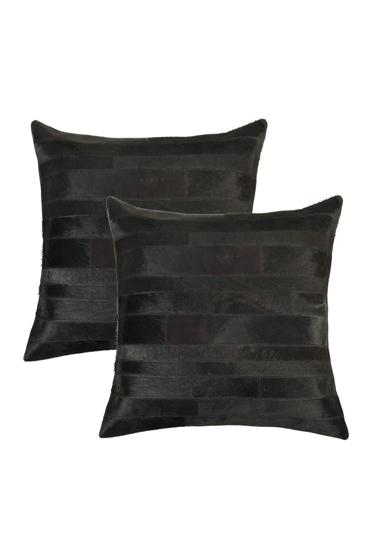 "Image of Natural Torino Madrid Pillow 18"" X 18"" - Black - Pack of 2"