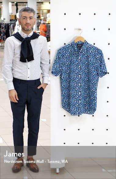 Slim Fit Print Short Sleeve Button-Down Shirt, sales video thumbnail
