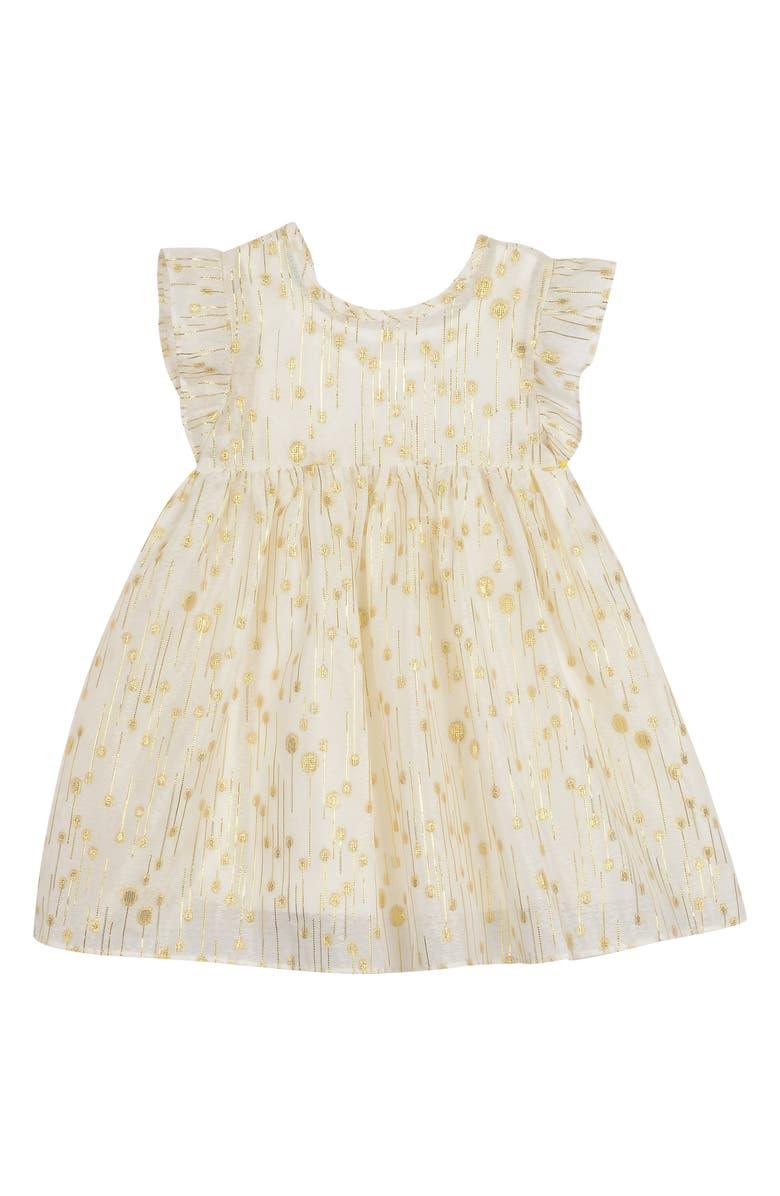 PIPPA & JULIE Flutter Sleeve Empire Waist Dress, Main, color, IVORY/ GOLD