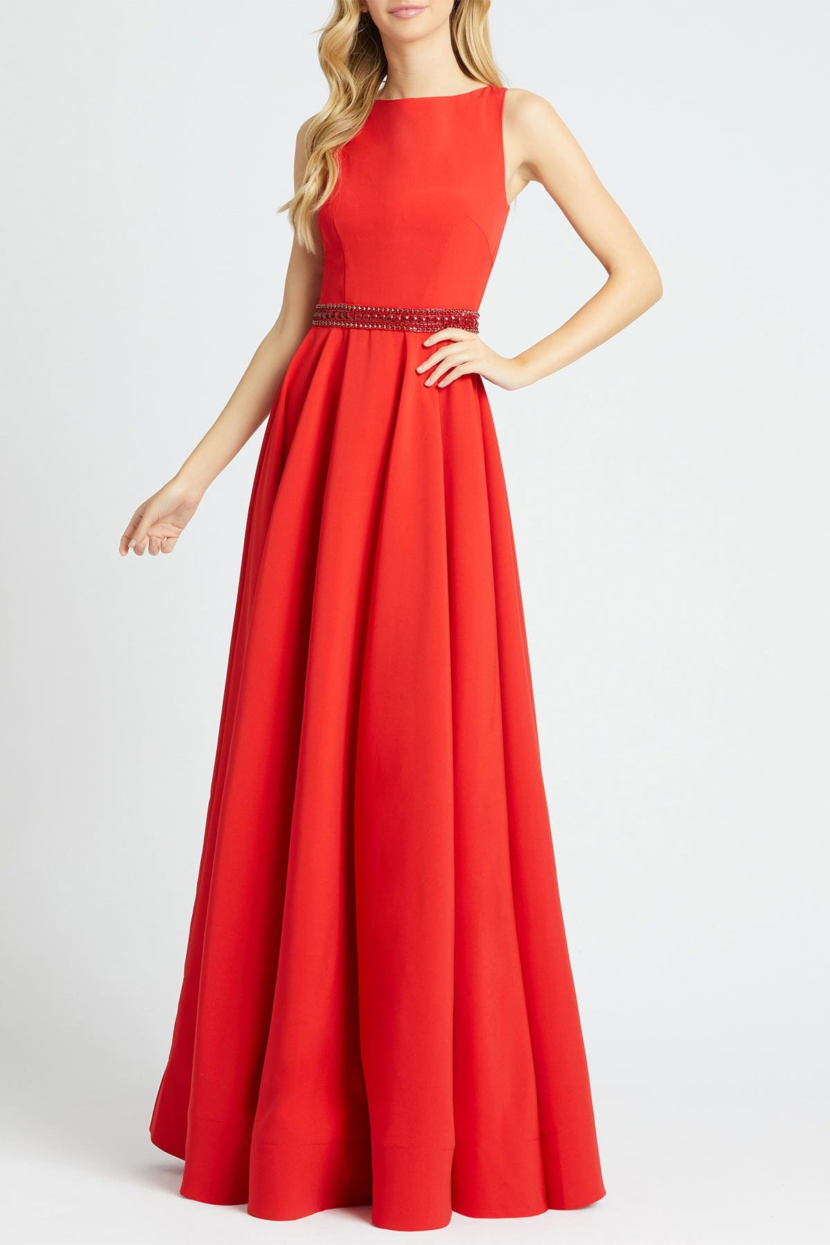Image of Mac Duggal Boatneck Beaded Waist A-Line Gown