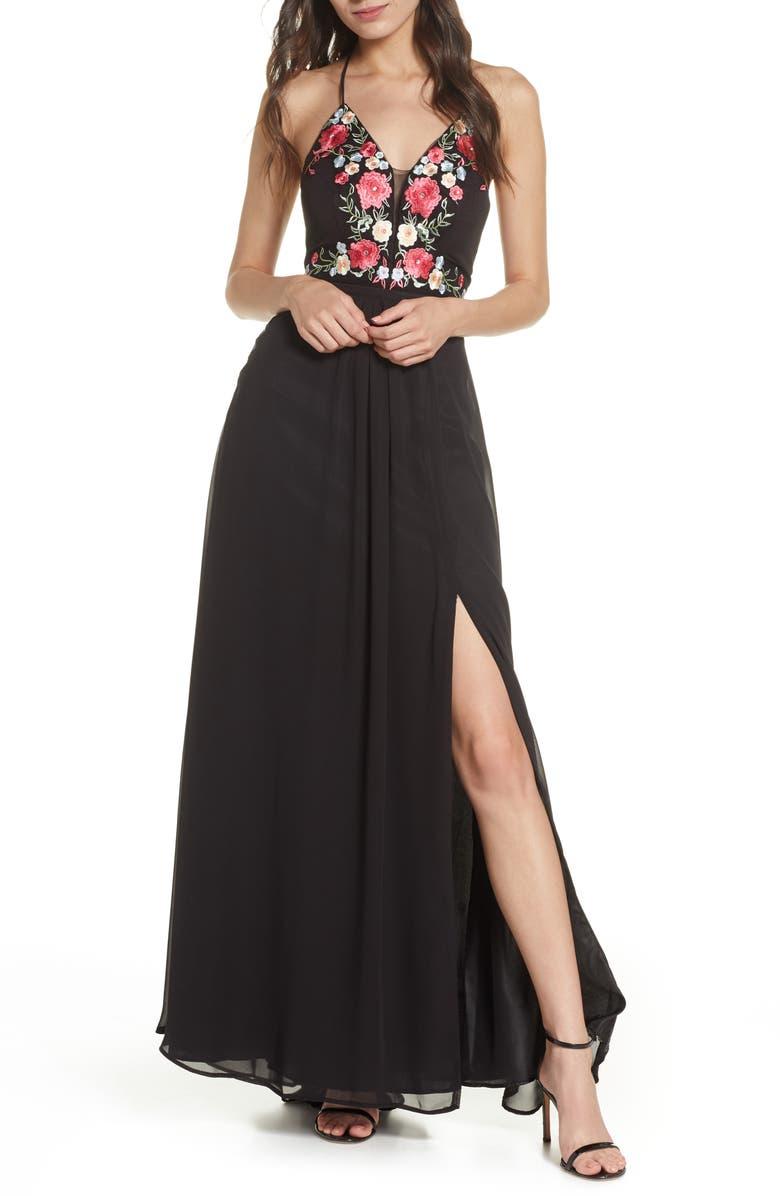 MORGAN & CO. Embroidered Mesh Evening Dress, Main, color, BLACK/ MULTI
