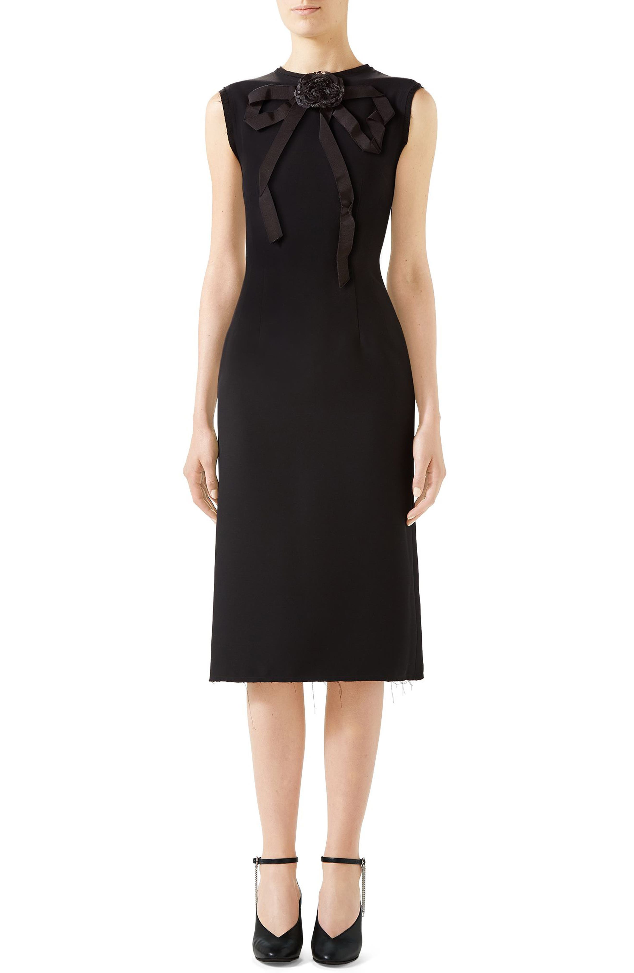 1269811e72 Gucci Bow Neck Sleeveless Cady Crepe Pencil Dress, US / 40 IT - Black