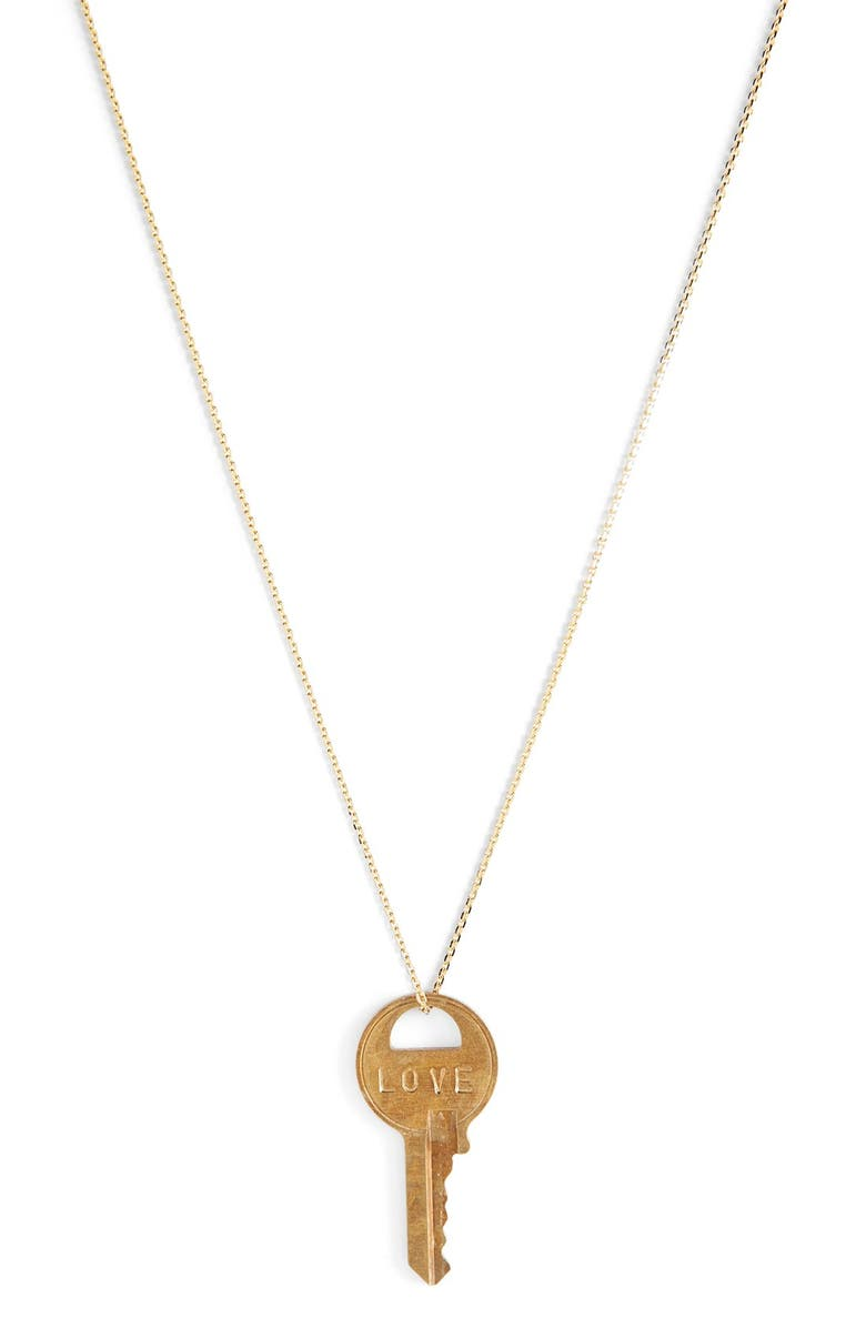 THE GIVING KEYS Dainty Classic Hope 18-Inch Gold Key Pendant Necklace, Main, color, 713