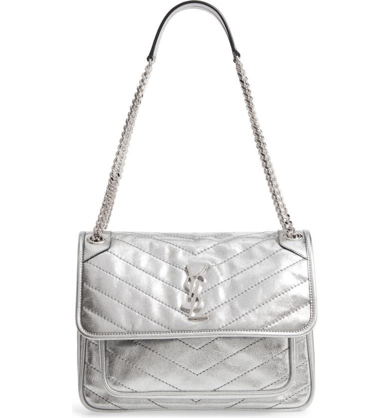 SAINT LAURENT Medium Niki Leather Shoulder Bag, Main, color, SILVER