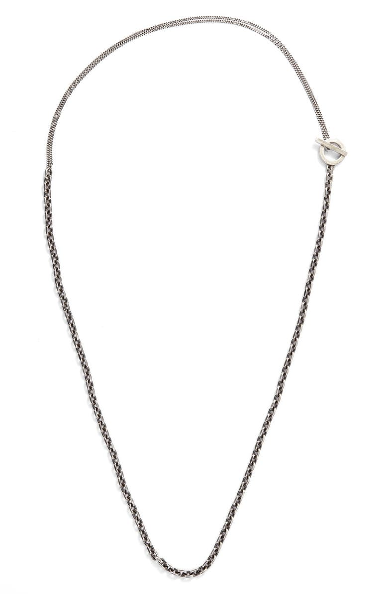 TITLE OF WORK Cable Chain Necklace, Main, color, SILVER
