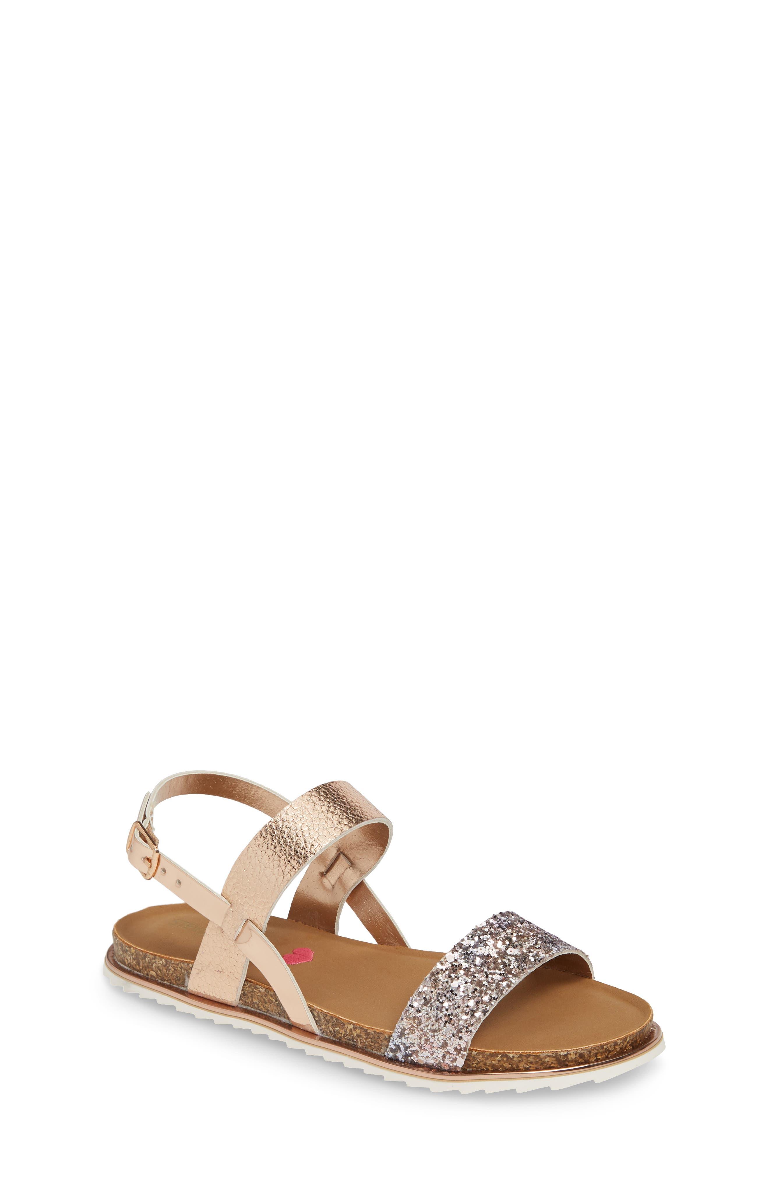 Jslim Glitter Sandal, Main, color, ROSE GOLD