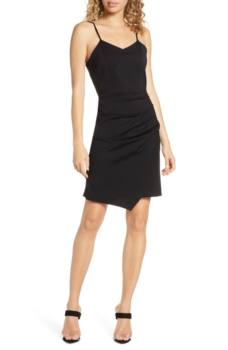 FRAICHE BY J Side Gather Tank Dress, Main, color, BLACK