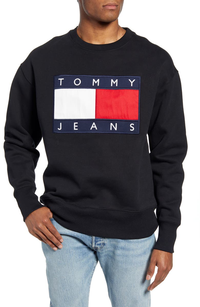 TOMMY JEANS TJM Tommy Flag Appliqué Crewneck Sweatshirt, Main, color, TOMMY BLACK