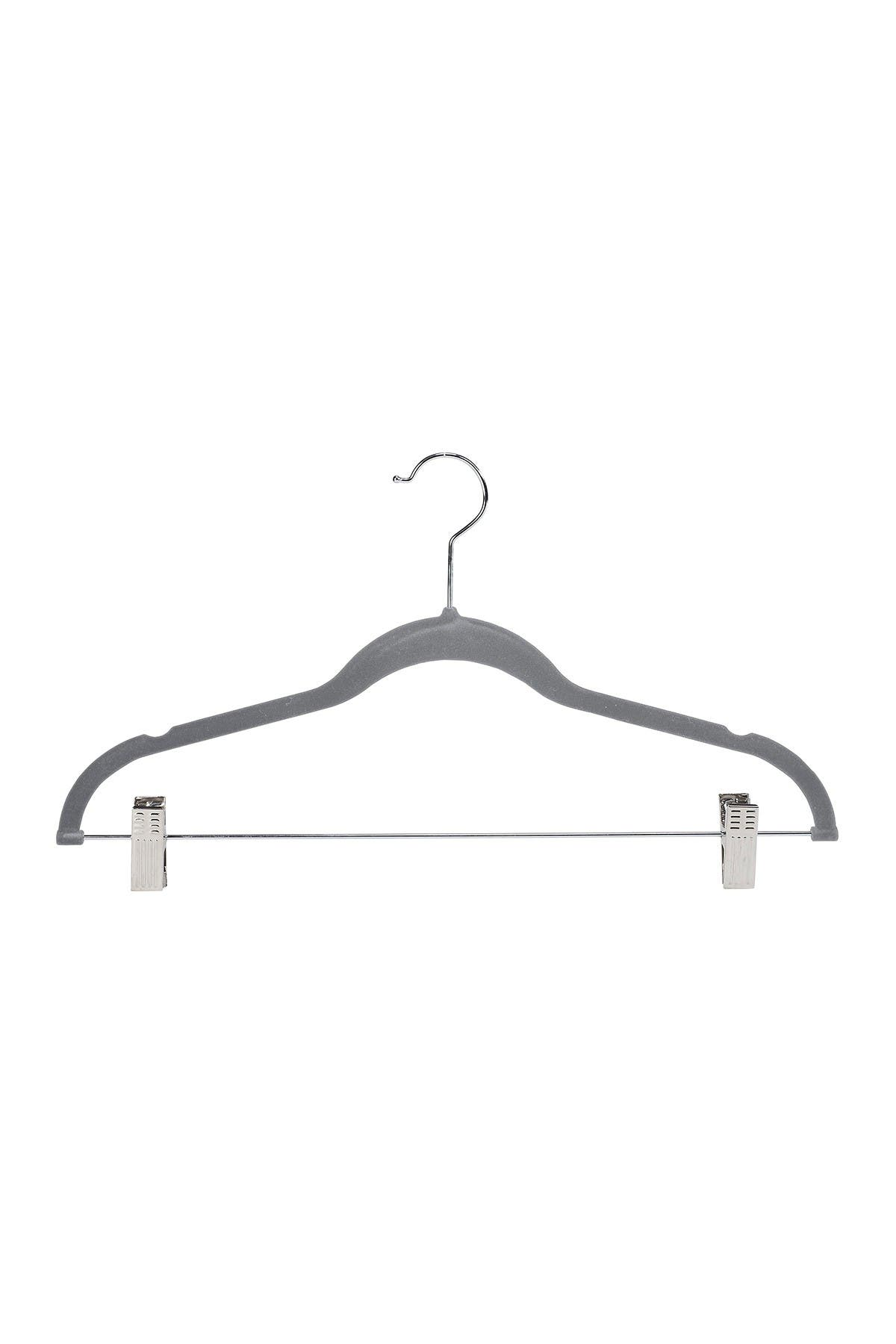 Image of Kennedy International Inc. Grey Simplify Velvet Hangers with Clips - Set of 6