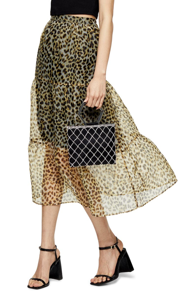 TOPSHOP Leopard Print Organza Midi Skirt, Main, color, LEOPARD