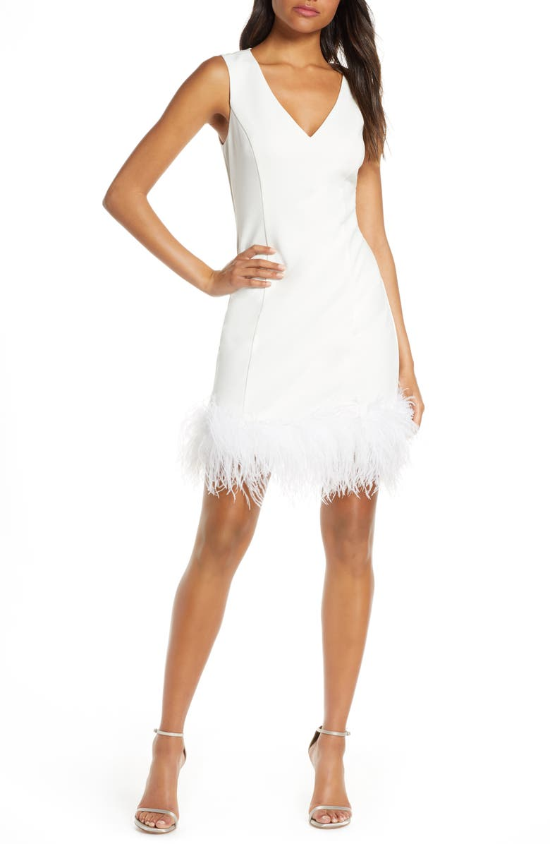 ELIZA J Feather Cocktail Dress, Main, color, IVORY