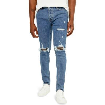 Topman Ripped Skinny Jeans, Blue