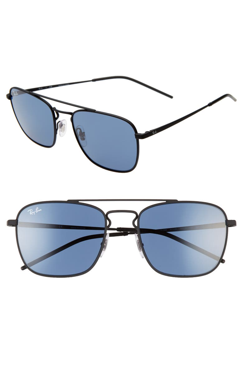 RAY-BAN 55mm Square Sunglasses, Main, color, BLACK