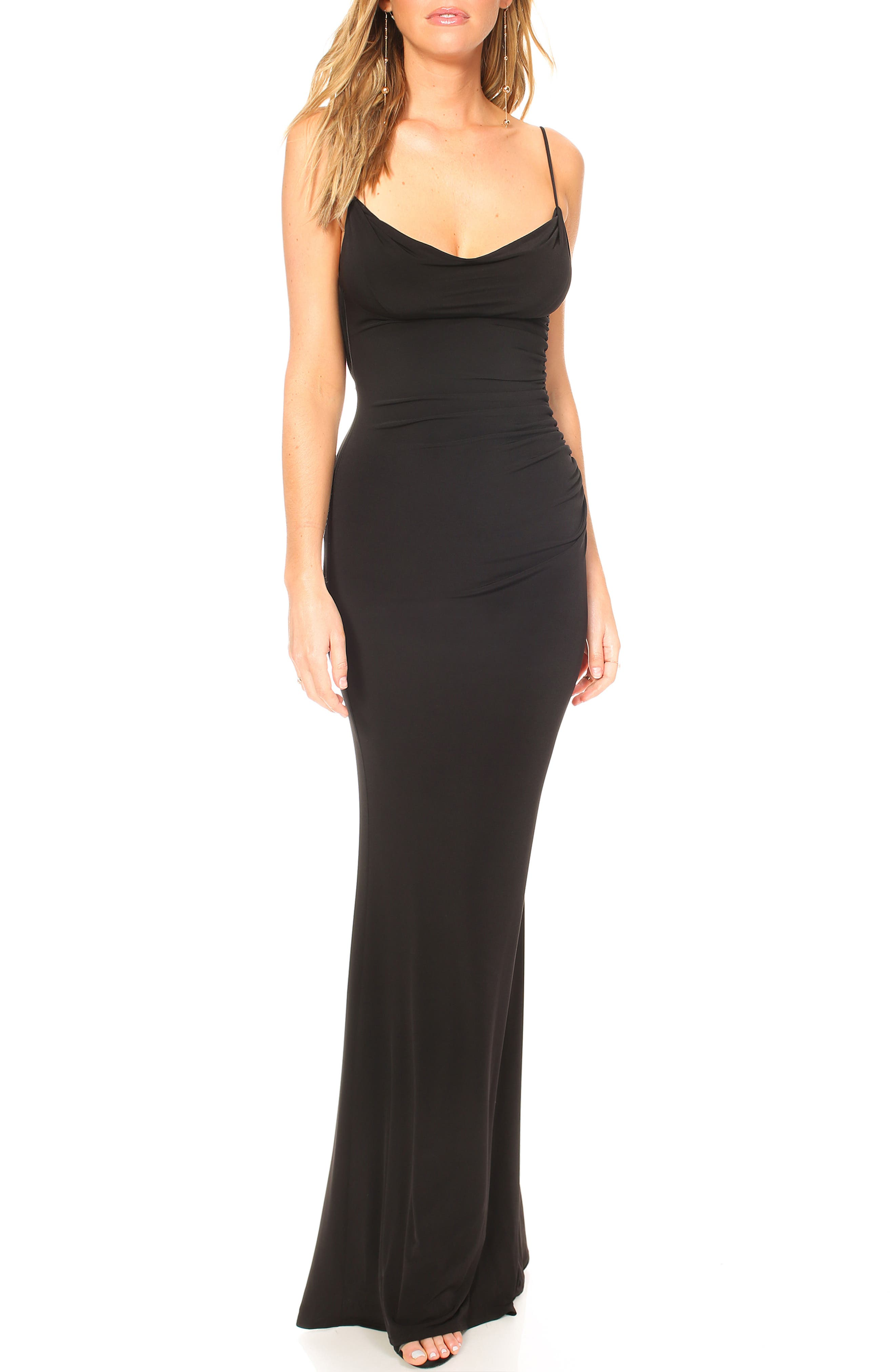 Katie May Surreal Cowl Back Evening Dress, Black