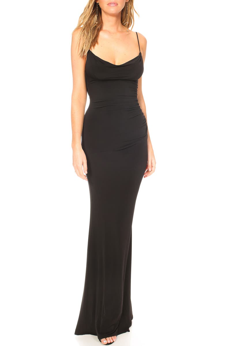 KATIE MAY Surreal Cowl Back Evening Dress, Main, color, 001