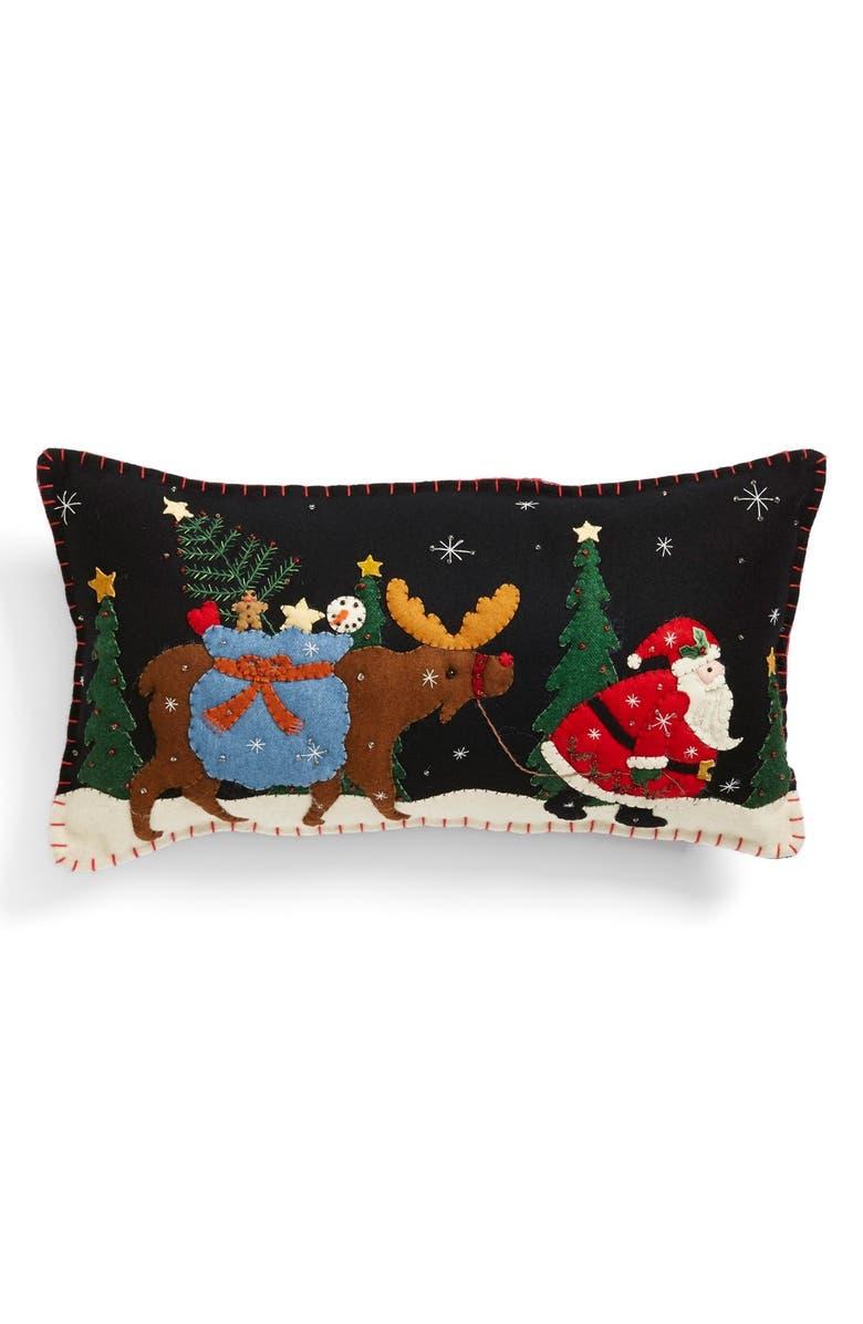 NEW WORLD ARTS 'Santa Walking with Moose' Accent Pillow, Main, color, BLACK