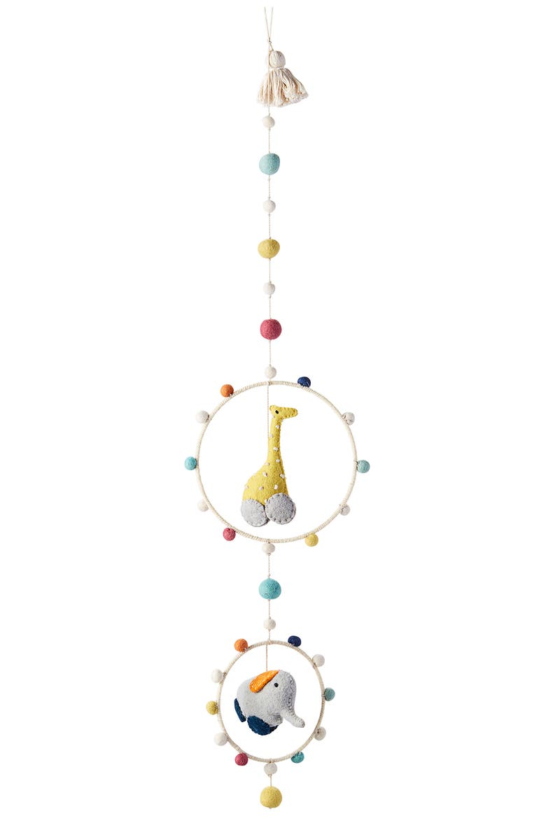 PEHR Giraffe & Elephant Hoop Mobile, Main, color, MULTI