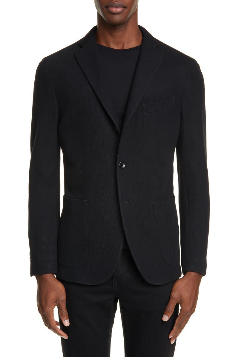 BOGLIOLI Trim Fit Military Knit Wool & Cotton Sport Coat, Main, color, 001