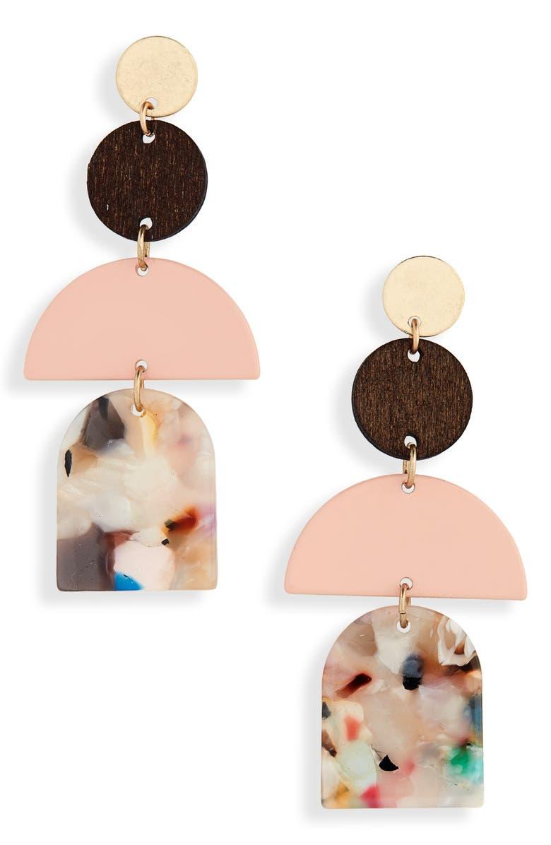 BP. Geo Resin & Wood Linear Earrings, Main, color, 660