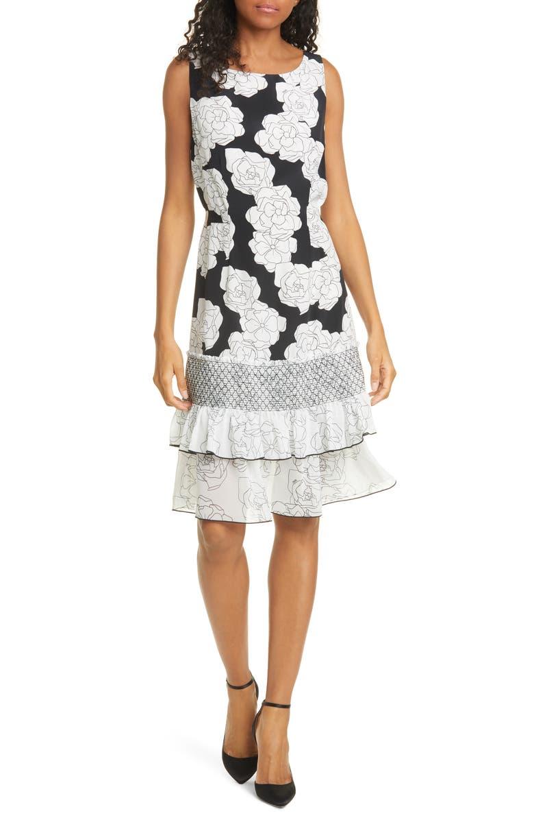 DYVNA Chacha Ruffle Floral Silk Dress, Main, color, BLACK FINE FLOWER