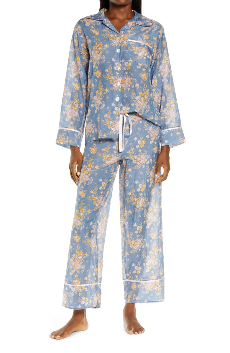 PAPINELLE Lolou Floral Cotton & Silk Pajamas, Main, color, INDIGO