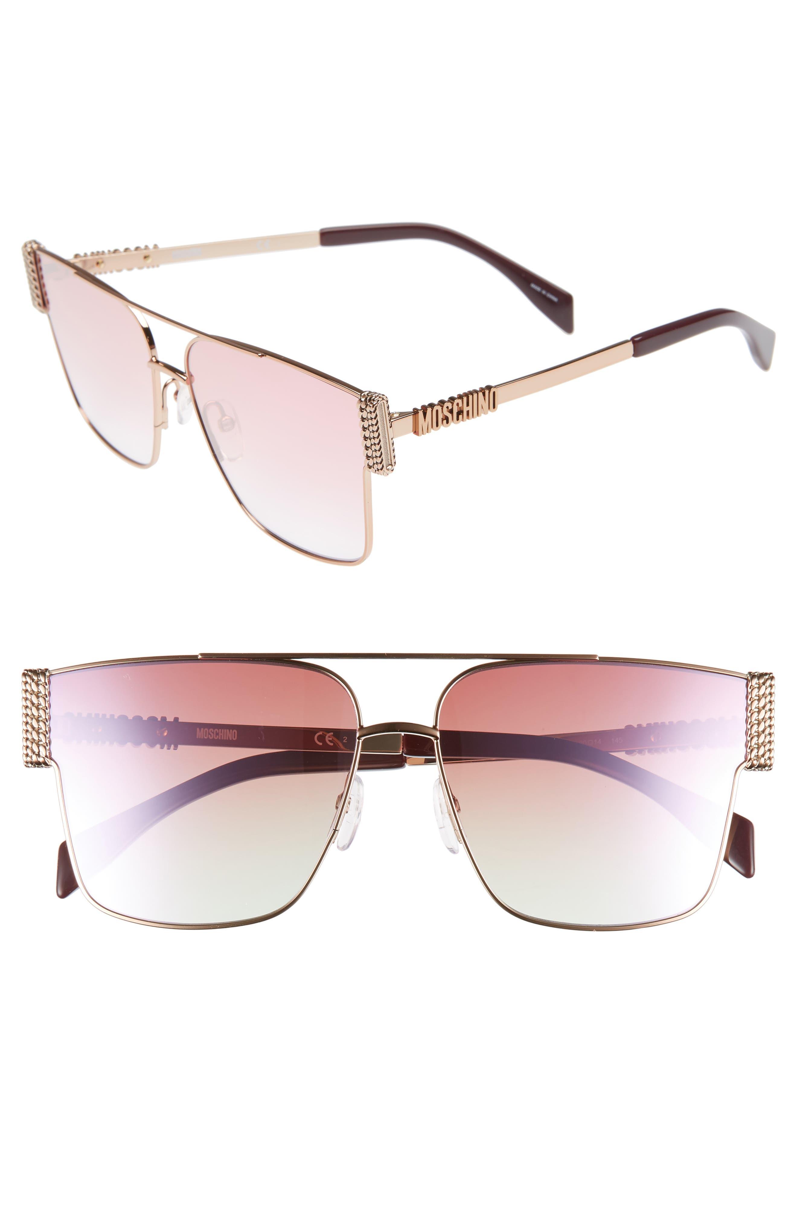 60mm Polarized Aviator Sunglasses, Main, color, GOLD COPPER