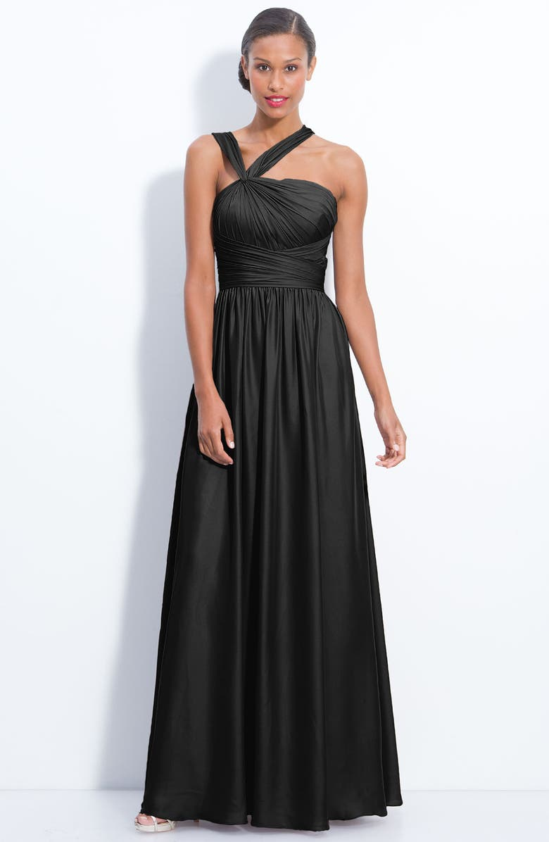 MONIQUE LHUILLIER BRIDESMAIDS Twist Shoulder Satin Chiffon Gown, Main, color, 001