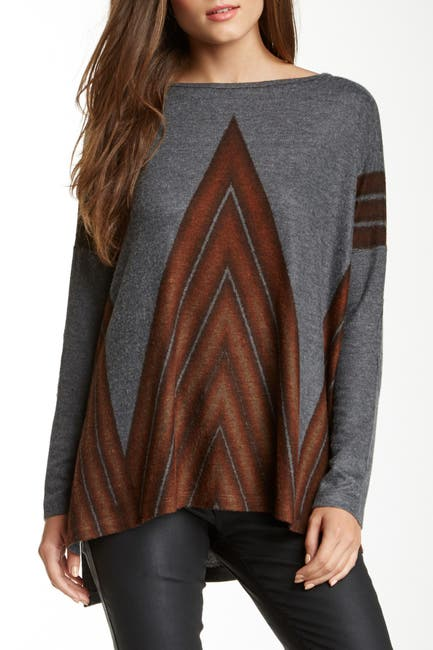 Image of Go Couture Printed Elbow Patch Dolman Sweater