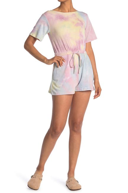 Image of GOOD LUCK GEM Tie Dye French Terry Drawstring Waist Romper