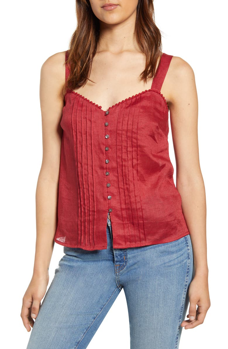 1.STATE Button-Front Pintuck Sleeveless Linen Top, Main, color, MINERAL RED