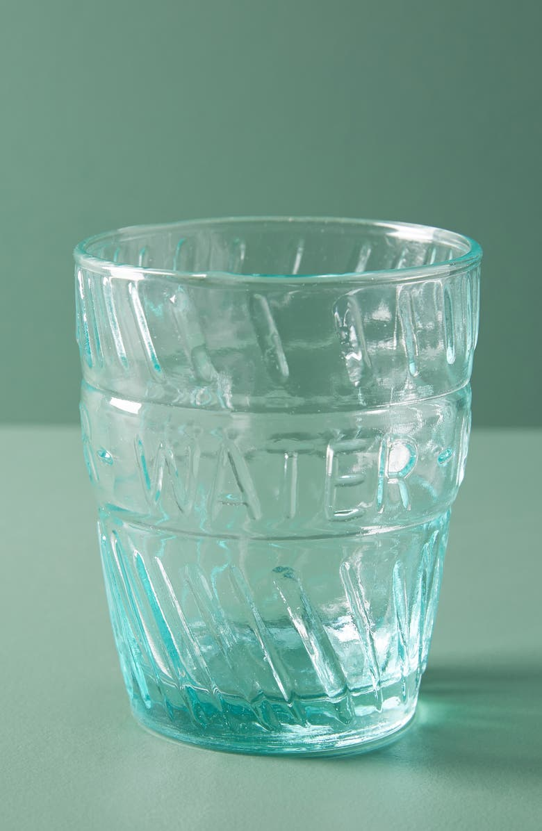 ANTHROPOLOGIE Riviera Set of 4 Water Glasses, Main, color, BLUE