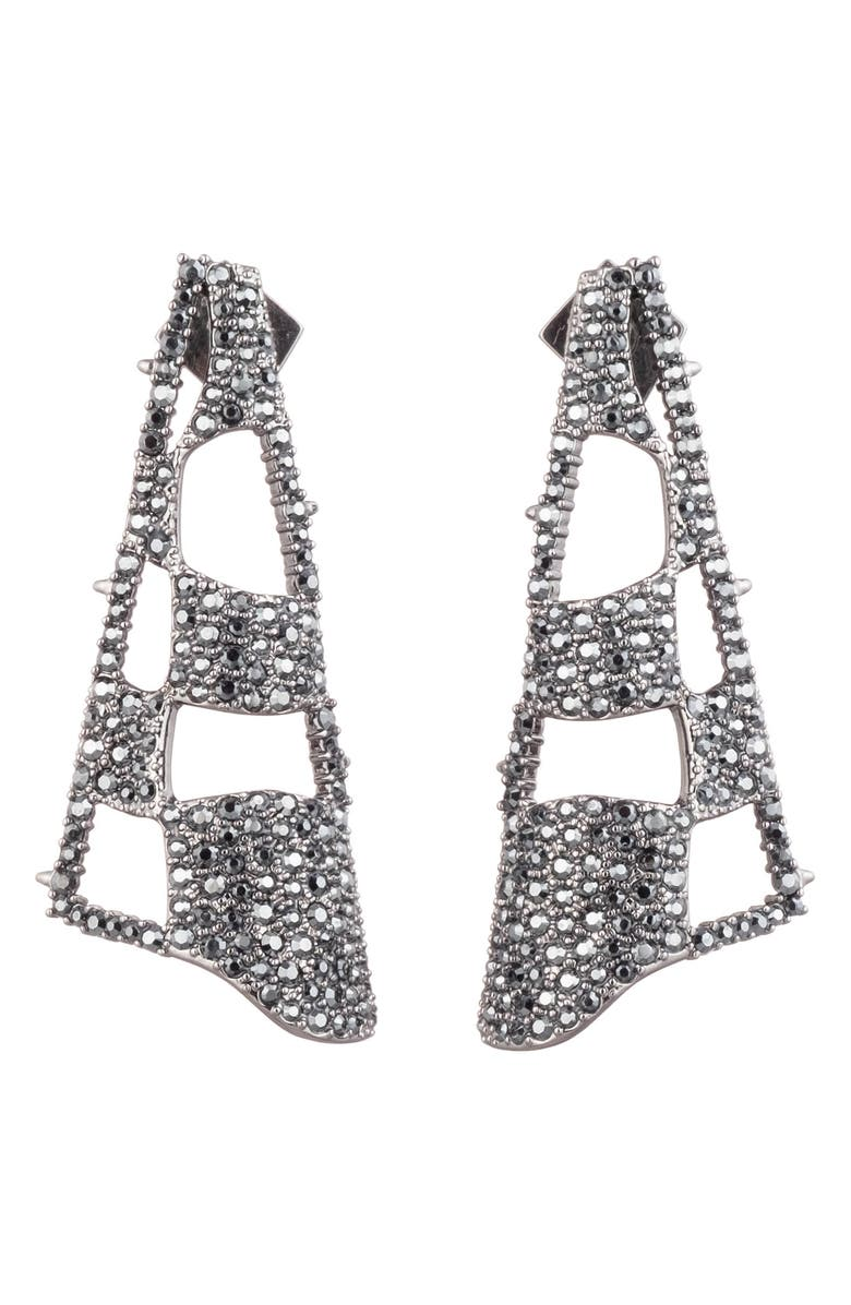 ALEXIS BITTAR Modern Georgian Pavé Checkerboard Fan Earrings, Main, color, BLACK