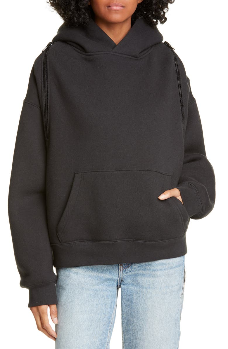 ALEXANDERWANG.T Wash & Go Dense Fleece Hoodie, Main, color, BLACK