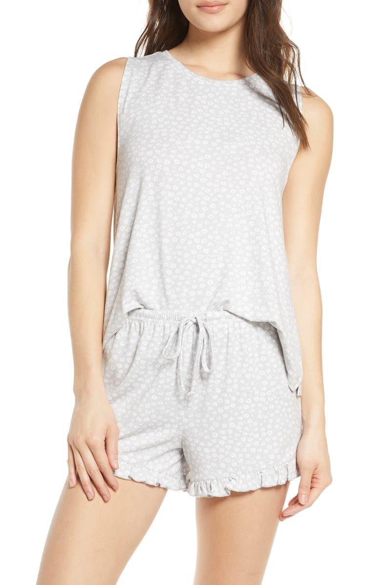 BP. Nori Shorts Pajamas, Main, color, GREY MICRO DANCING DAISY