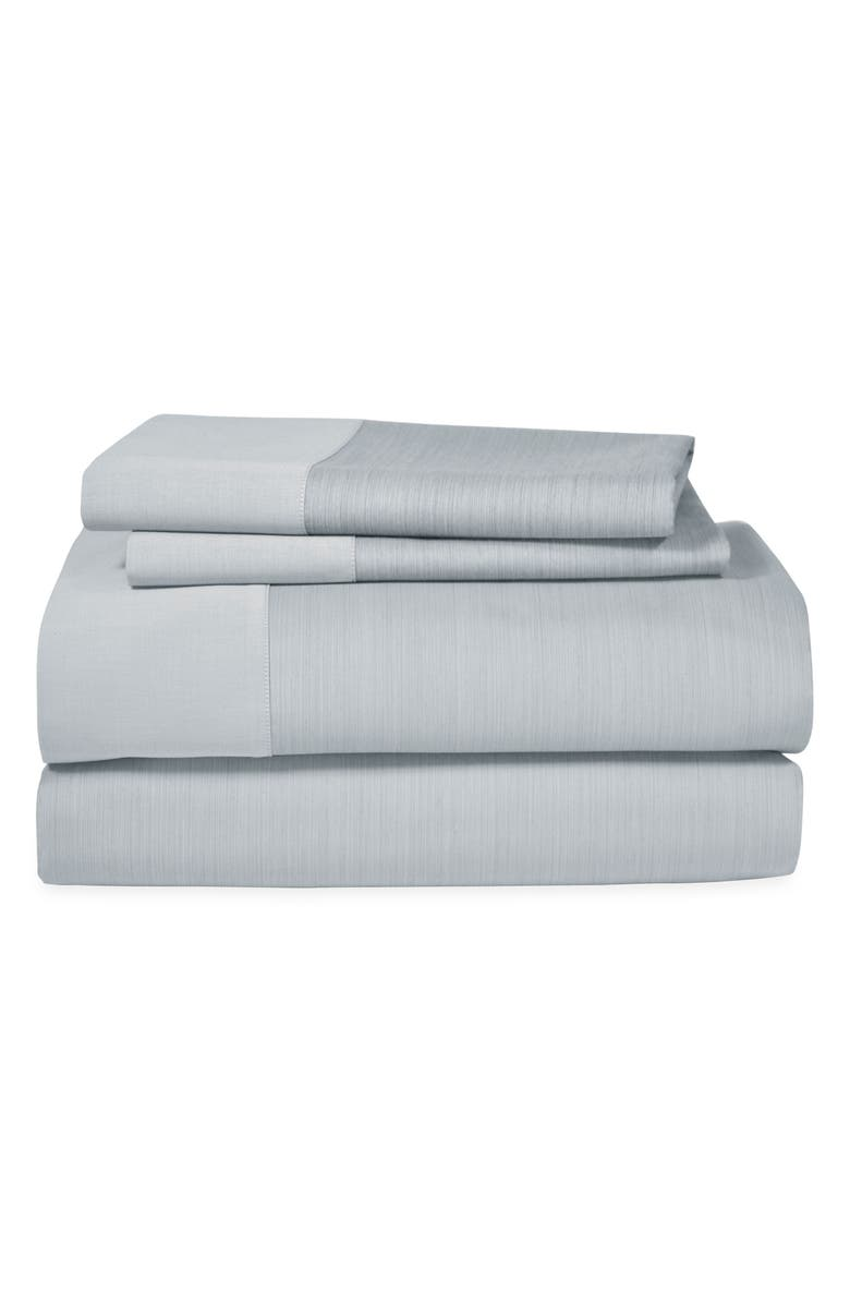 MICHAEL ARAM Striated Band 400 Thread Count Flat Sheet, Main, color, GRAY