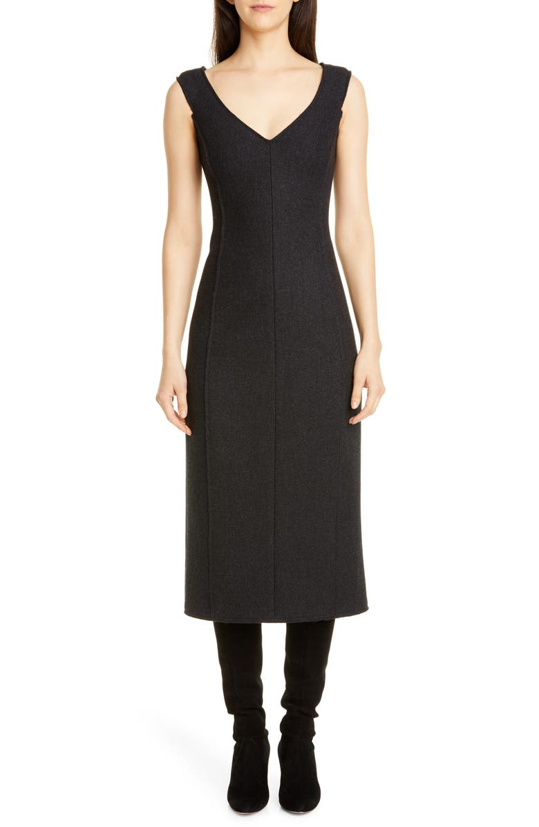 THEORY Paneled Sleeveless Wool Midi Dress, Main, color, CHARCOAL MELANGE