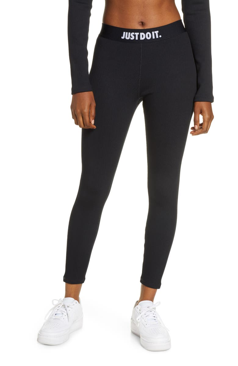 NIKE Sportswear Ribbed JDI Leggings, Main, color, BLACK