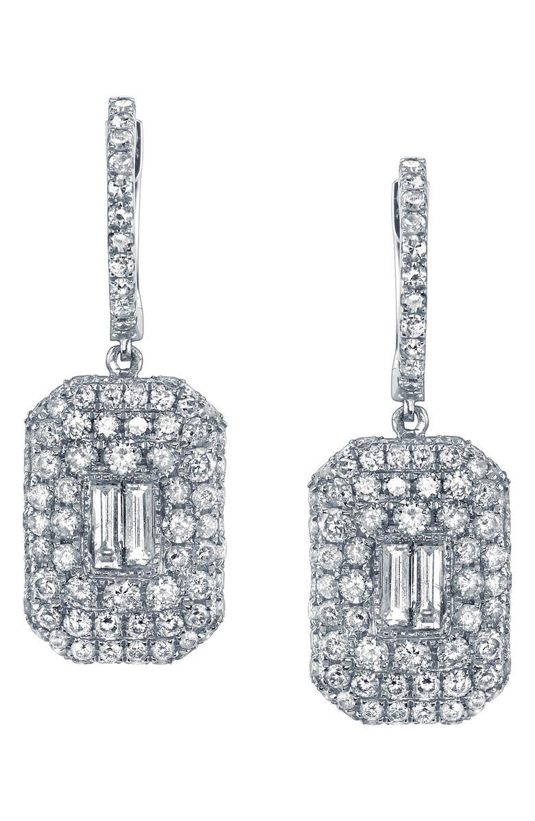 SHAY Pavé & Baguette Drop Earrings, Main, color, DIAMOND