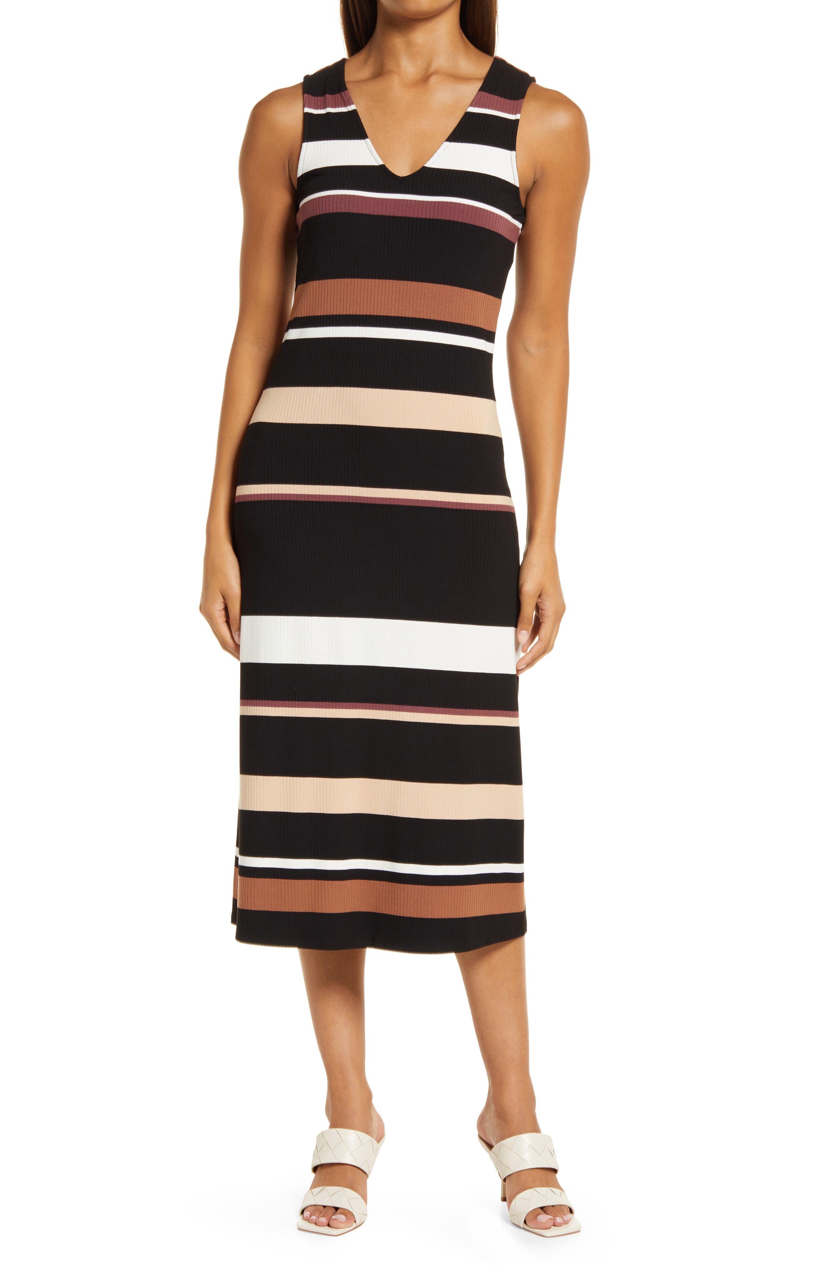 Stripe Sleeveless Rib Midi Dress