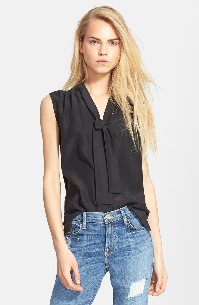 FRAME Denim Sleeveless Tie Neck Silk Shirt, Main, color, 001