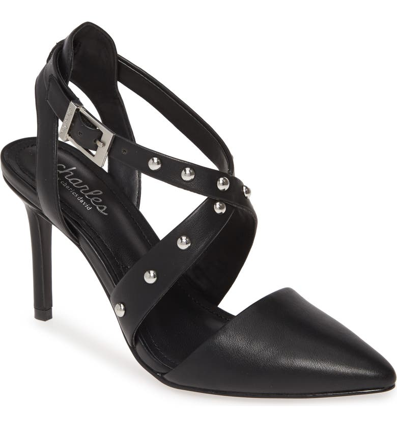 CHARLES BY CHARLES DAVID Vladimir Studded Pointed Toe Pump, Main, color, BLACK
