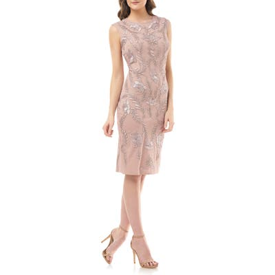 Js Collections Dori Embroidered Cocktail Dress, Pink