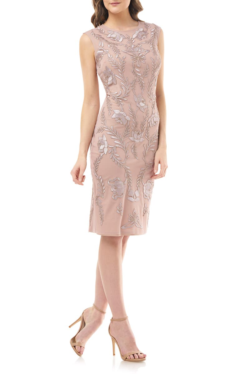 JS COLLECTIONS Dori Embroidered Cocktail Dress, Main, color, DUSTY ROSE