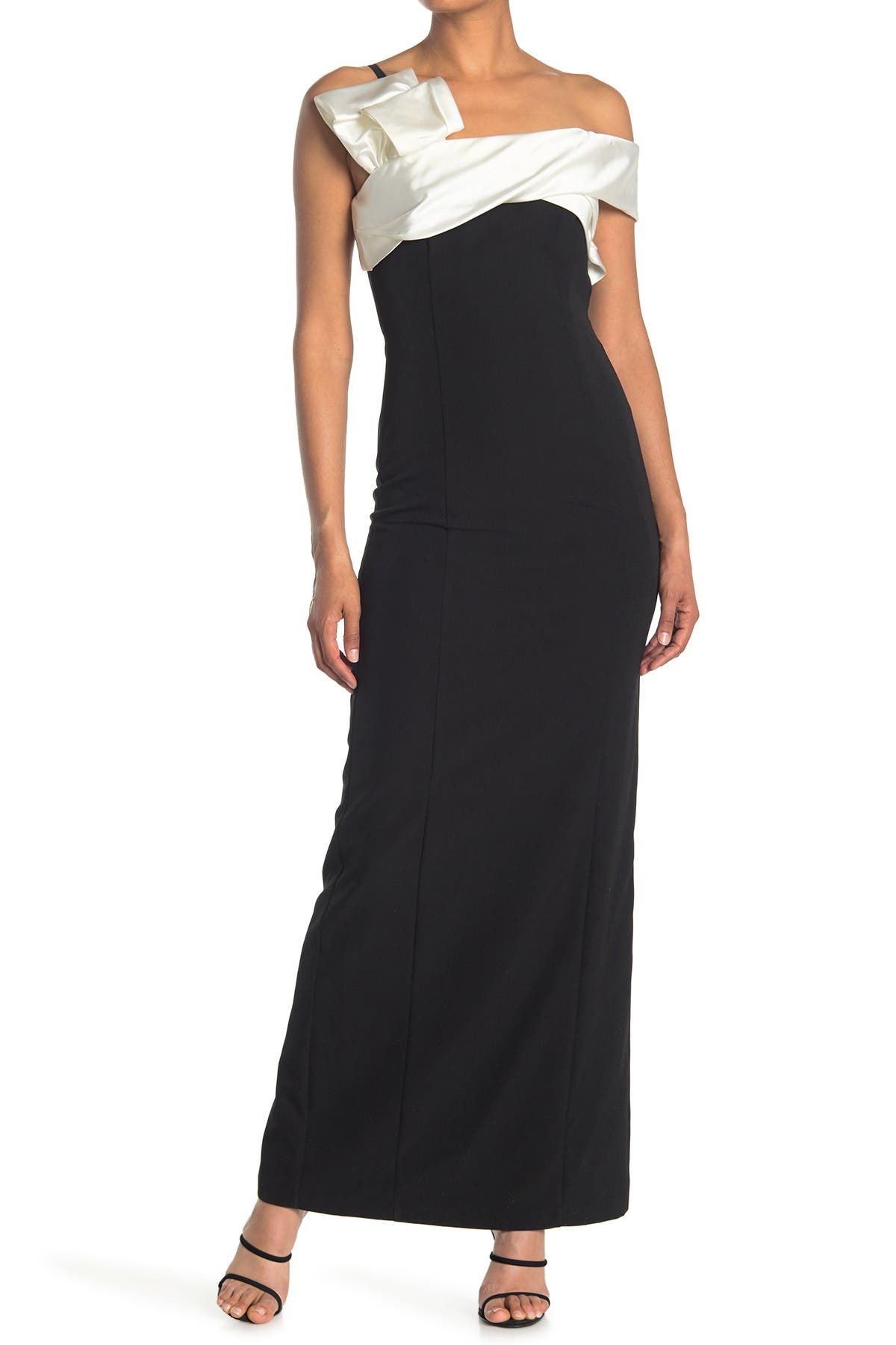 Image of Marina Off-the-Shoulder Bow Detail Slim Gown