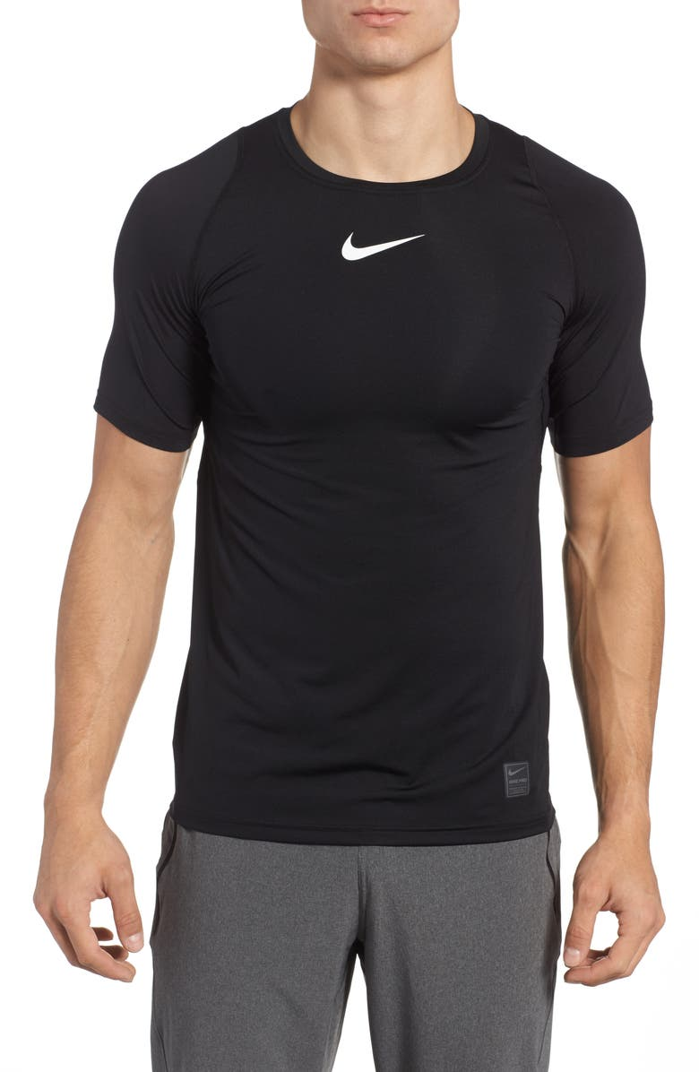 NIKE Pro Fitted T-Shirt, Main, color, BLACK/ WHITE/ WHITE