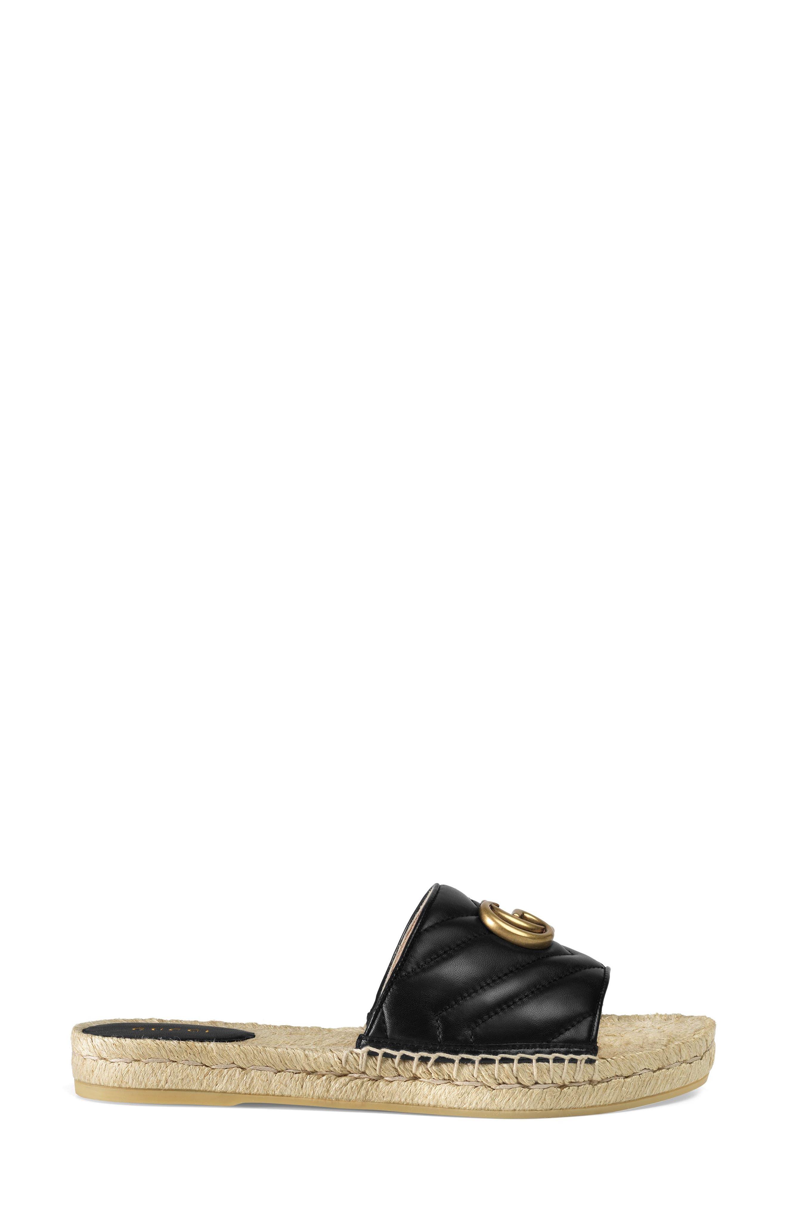 ,                             Pilar Espadrille Slide Sandal,                             Alternate thumbnail 2, color,                             BLACK