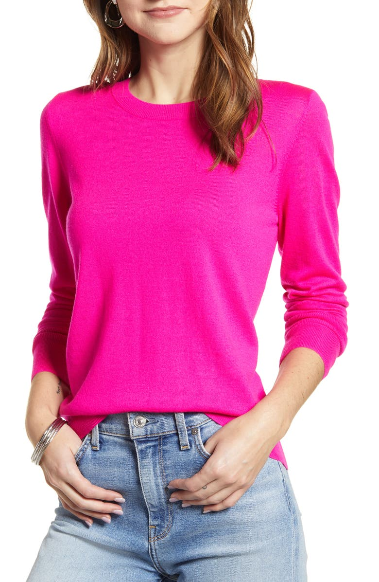 HALOGEN<SUP>®</SUP> Crewneck Merino Wool Blend Sweater, Main, color, 651