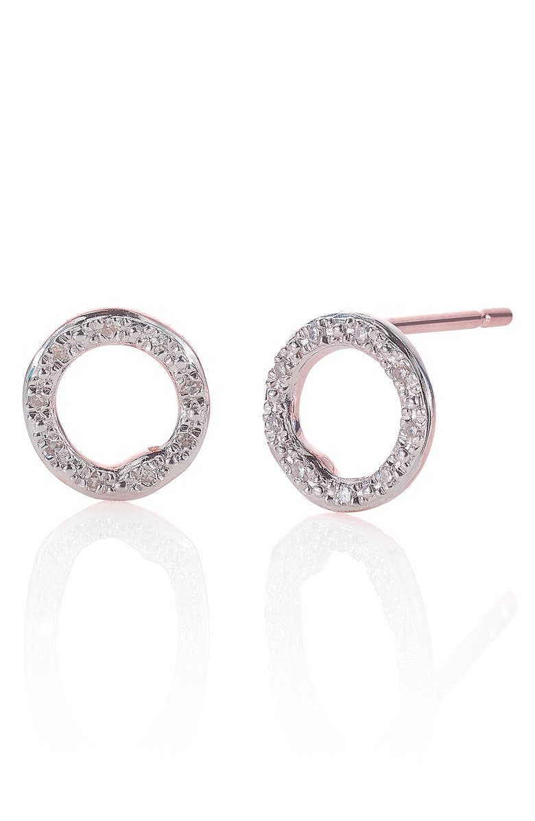 MONICA VINADER 'Riva' Circle Stud Diamond Earrings, Main, color, ROSE GOLD